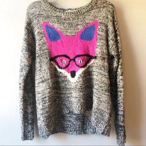 Rewind Fox Marble Gray Knit Sweater Hi/Lo Sz. L
